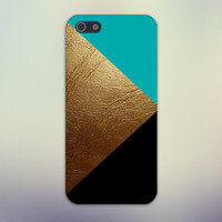 Gold Leather x Black Turquoise Design Case for iPhone 6 6 Plus iPhone 5 5s 5c iPhone 4 4s Samsung Galaxy s5 s4 & s3 and Note 4 3 2