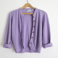 Vintage 50s Retro Lavender Soft Shrunken Cardigan with Gold Metal Buttons