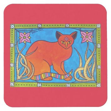 Indian Cat With Lilies Colorful Cat Design Square Paper Coaster