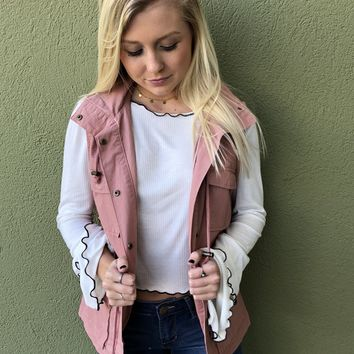 Whole Lot In Love Vest- Mauve