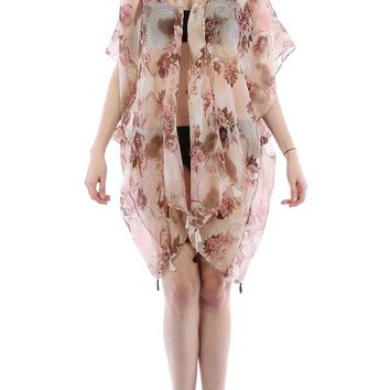 Pink Floral Doily Print Sheer Cover Up Poncho