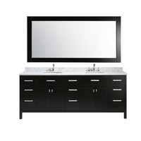Design Element London 84 in. W x 22 in. D x 35 in. H Vanity in Espresso with Marble Vanity Top in Carrara White, Basin and Mirror-DEC076-84 - The Home Depot