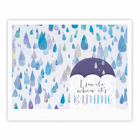 "Noonday Design ""I Smile When Its Raining"" Blue Purple Fine Art Gallery Print"