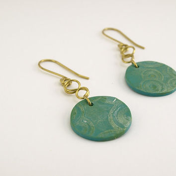 Small long green earring, Geometric pattern on polymer clay circles, OOAK