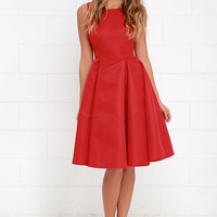 Everything She Does Red Midi Dress