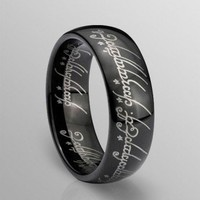 """Clearance Black Plating """"The Lord of the Rings"""" Tungsten Ring"""