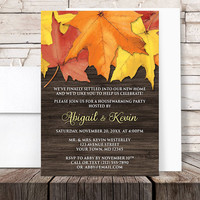 Autumn Housewarming Invitations - Rustic Autumn Leaves Wood - Country Fall Housewarming - Printed Invitations