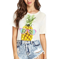 Pineapple Print Short Sleeve Graphic Cropped Tee