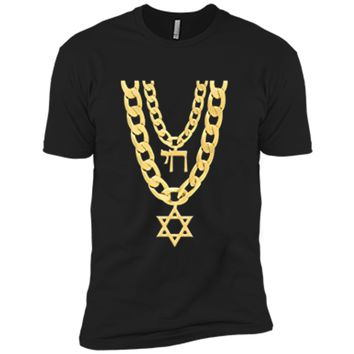 Jew Chai Bling Chain Hanukkah Festival Of Lights Jew  Next Level Premium Short Sleeve Tee