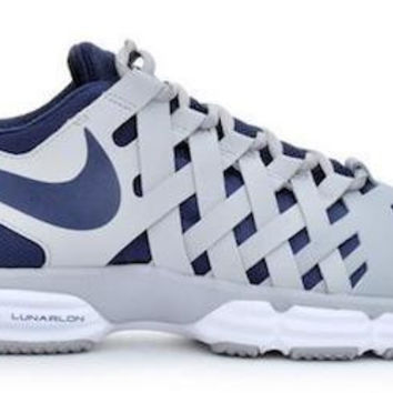 New Nike Lunar Fingertrap Men's Running Casual Shoes Gray/Navy Blue