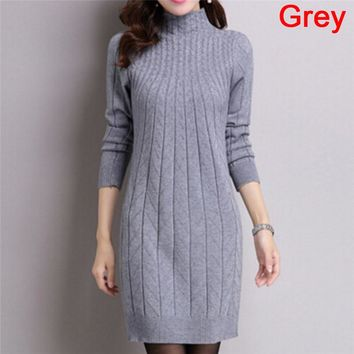 Gilet Femme Manche Longue Winter 2018 Turtleneck Long Knitted Sweater Dress Thick Argyle Pullover Women Sweaters And Pullovers