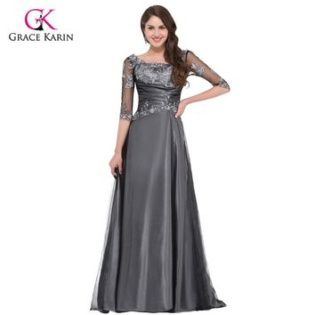 Grace Karin Grey Elegant Long half Sleeve Evening Dresses 2017 New Arrival Mother Of The Bride Dress Women Formal Evening Gowns