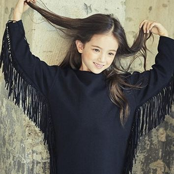 tassels fleece girls long sleeve dress black thick teenage little girls dresses autumn winter 2017 new warm children clothing