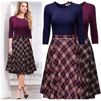 Vintage Inspired Plaid Dress, Purple Plaid or Blue Plaid - US Sizes 4 - 18
