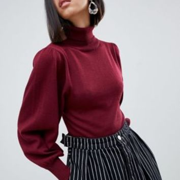 ASOS DESIGN eco crop roll neck sweater in volume sleeve | ASOS