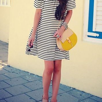 New Women White Striped Pattern Off The Shoulder Boat Neck Streetwear Cute Cotton Mini Dress