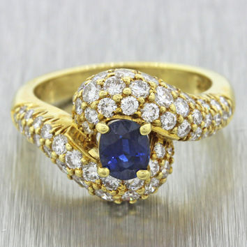 1960s Vintage 18k Yellow Gold 0.5ct Sapphire 1.0ctw Diamond Engagement Ring