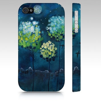 iPhone4 Phone Case - Four Moons - blue cell cover full moon watercolor art magnolia blossoms tree night mountain painting Canadian Oladesign