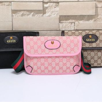"""Gucci"" Personality Retro Multicolor Letter Single Shoulder Messenger Bag Women Fashion Big Bag"