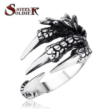 CREYCI7 steel soldier punk stainless steel men's Engine Skull Ring for Boy Biker Man's High Quality Jewelry