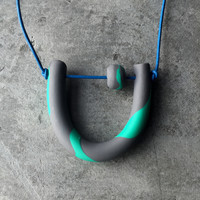Soft Rock Necklace | Abacus Necklace in Grey and Soft Green
