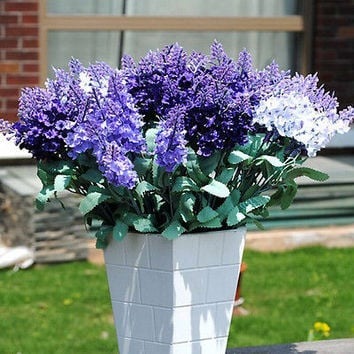 1 Bouquet Artificial Silk Lavender Flower Home Wedding Garden Floral DecorHU