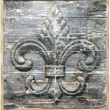 "Fleur de lis Large 38""x38"" wall decor on reclaimed wood"