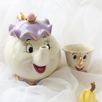 100% official New style Cartoon Beauty And The Beast Teapot Mug Mrs Potts Chip Tea Pot Cup 2PCS One Set for collection