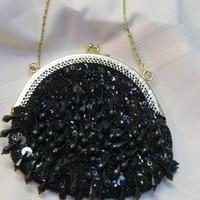 """Vintage  Black Beaded/Sequined Evening Purse Flapper Style Size :6"""" 1/2 exterior x 7"""" Gold Chain Strap Long 40"""""""
