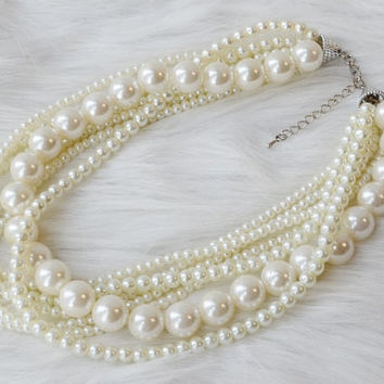 Pearl Statement Necklace, Chunky Pearl Necklace, Bridal Necklace, MultiStrand Pearl Necklace