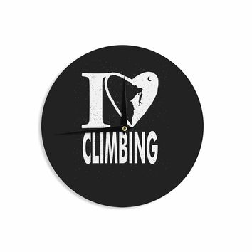 "BarmalisiRTB ""I Love Climbing"" Black White Love Sports Digital Illustration Wall Clock"