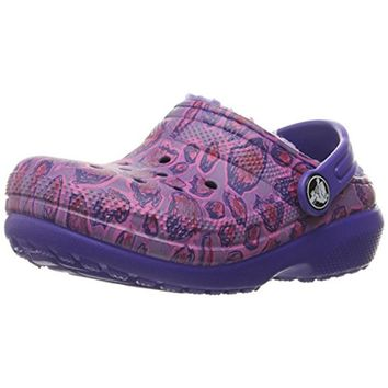 Crocs Girls Faux Fur Lined Leopard Print Clogs