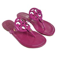 Tory Burch Miller Flip Flop Leather Thong Sandal LOGO (6.5, Party Fuchsia Patent Leather)