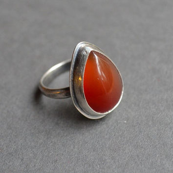 Teardrop Carnelian Sterling Silver Ring Oxidized, Size 6.25 US Ring, Boho Gemstone Ring, Faceted Band, Red Stone Ring, Bohemian, Indie, OOAK