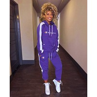 Champion Fashionable Women Casual Print Long Sleeve Trousers Set Two-Piece Sportswear Purple