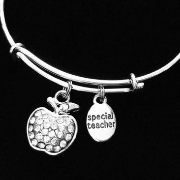 Special Teacher Charm Bracelet Silver Wire Bangle Adjustable and Expandable for One Size Fits All Gift