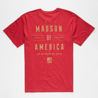 Madson Of America Empire Mens Pocket Tee Burgundy  In Sizes