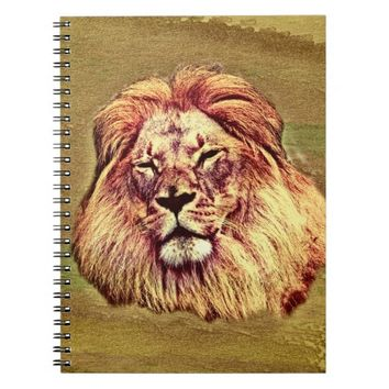 African Brown Lion Oil Painting Spiral Notebook