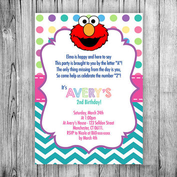 Elmo Invitation Girl Birthday Party Invite Sesa