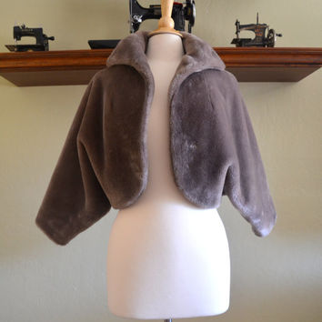 Vintage Borgana Faux Fur Bolero Shrug, Brown or Taupe, Dolman Sleeves, Pile Fabric Patented in 1950s