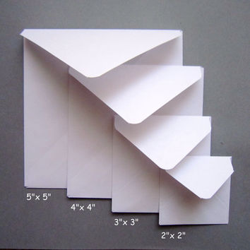 2x2 3x3 4x4 5x5 card envelopes/ White Square Envelope/ Various Square Envelope Sizes / Set of 20