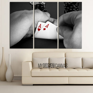 Poker Cards Canvas Art Print - Playing Cards Art Canvas Print - Framed Gallery Wrap Large Wall Art
