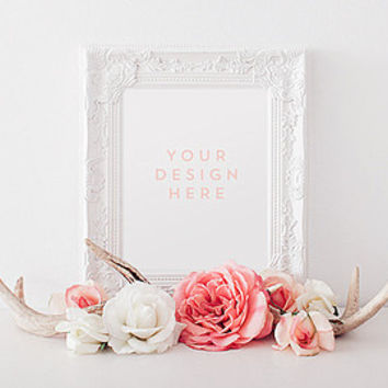 Plain Jane White Frame, Stock Photography, Product / Frame Mockup Frame Mock Up, Wall Art Display Template
