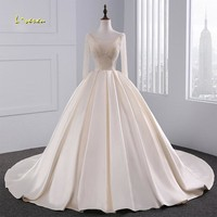 Loverxu Vestido De Noiva Long Sleeve Princess Wedding Dresses 2018 Court Train Beaded Matte Satin Vintage Bridal Gown Plus Size