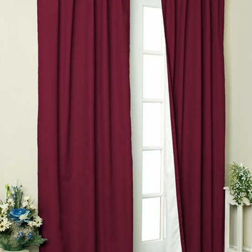 Thermalogic Weather Cotton Fabric Window Tab Curtain Panels Pair Burgundy