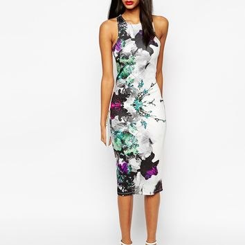 ASOS Floral Placed Midi Body-Conscious Dress