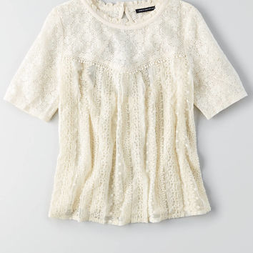 AEO Embroidered Mesh Shirt, White