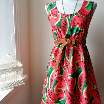 Dress with Kitsch Watermelons in Pink and Green / Handmade / Choose Your Size