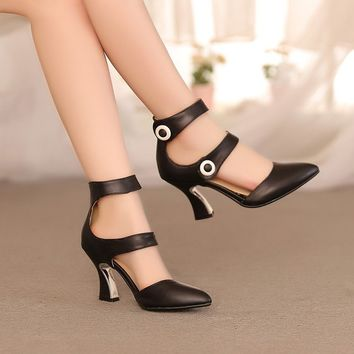 Women's Pumps Pointed Toe High Heel Shoes Pointy Ankle Strap Platform Sandals