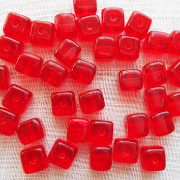 Lot of 25 Siam Red Cube Beads, 5 x 7mm Czech glass beads, C1425